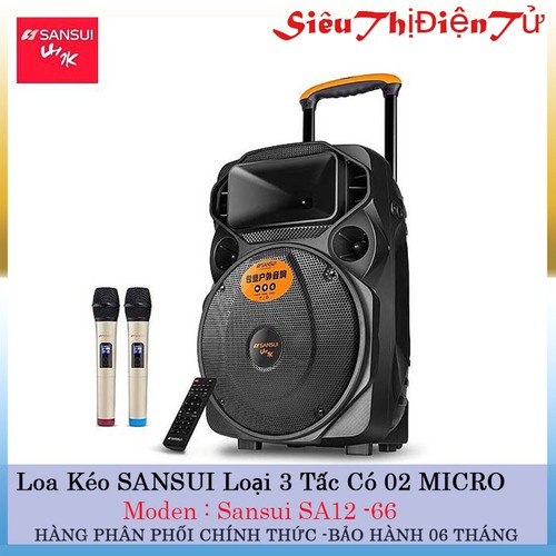 LOA KÉO KARAOKE SANSUI A12 66 DÒNG BASS 30cm kèm 2 micro không dây