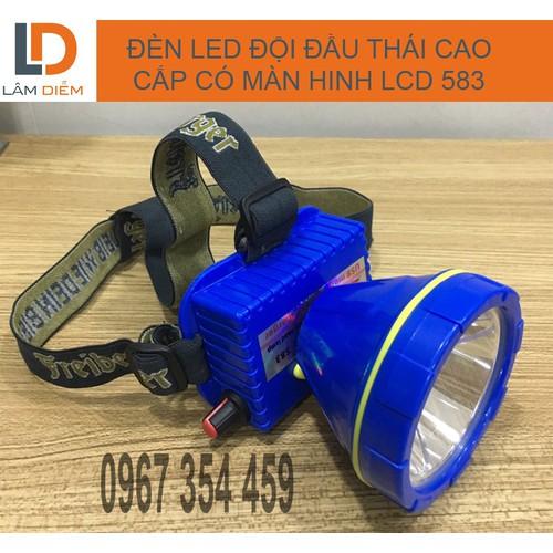 Đèn led đội đầu pin sạc USB siêu bền có màn hình LCD 583 Thái