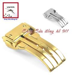 Khóa gập 1 bản lề dành cho dây cao su đồng hồ kiểu Hu. Màu Vàng - Gold