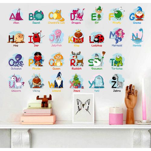 Decal trang trí tường - Bảng chữ cái hoạt hình vui nhộn
