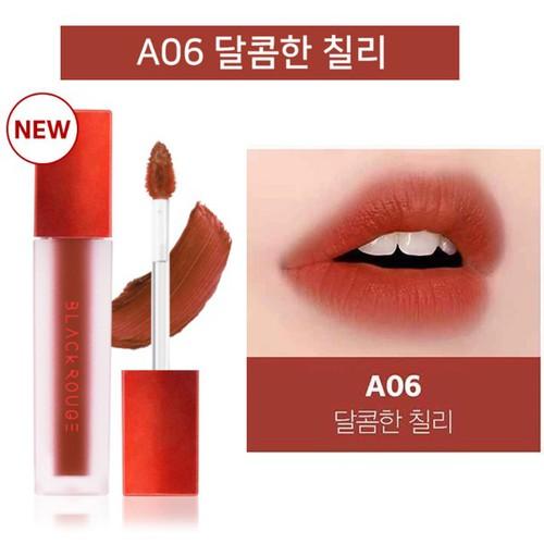 Son kem lì Black Rouge Air Fit Velvet Tint 3.5ml - A06: Brick Red: Đỏ cam đất