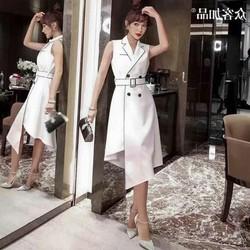Đầm Dáng Xòe Cổ Vest Kèm Nịt Thời Trang