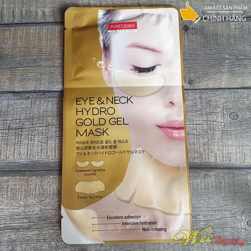 Mặt Nạ Dưỡng Da Tinh Chất Vàng Kép Mắt Và Cổ Purederm [Gói 01 Miếng - 2g + 9g] [Hàn Quốc]