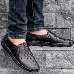 Giày lười da nam, đế cao su, khâu xung quanh,giày tây nam, giày mọi da nam,giày nam đẹp, giày da nam