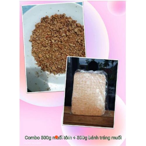 Combo 500g Muối Tôm + 500g Bánh Tráng Muối Tây Ninh