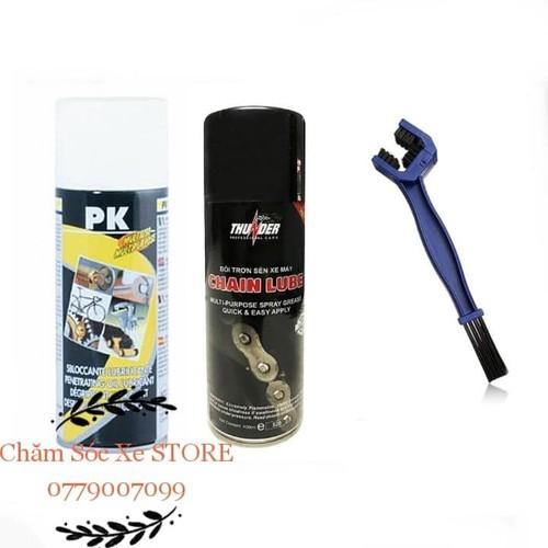 Combo xịt sên, dưỡng sên Thunder 400ml và chải sên - VỆ SINH SÊN XÍCH PK - Siêu tiện lợi