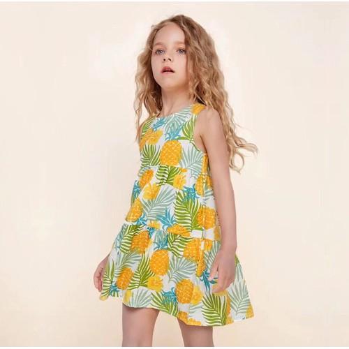 [SIÊU HÓT] Váy Công Chúa Đi Biển In Hình Quả Dứa Cho Bé Gái 8kg - 25kg