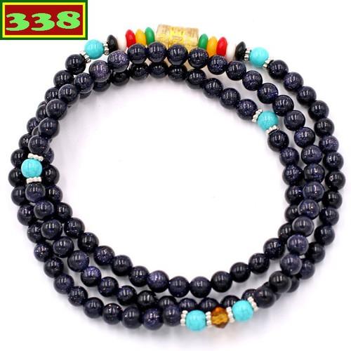 Chuỗi hạt đeo tay 108 hạt đá lam sa VMTLS1 6 ly - Tràng chuỗi niệm Phật