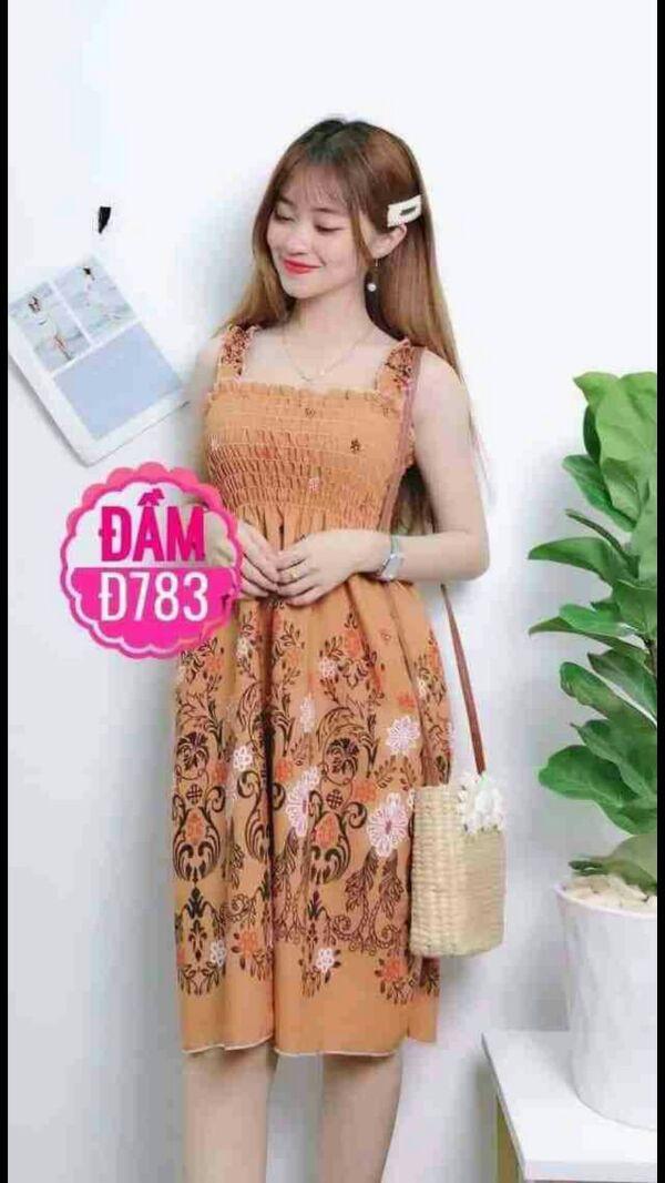 Đầm maxi ngắn xinh màu vàng cam