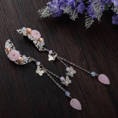 Cài tóc mặt trăng cổ trang 1 đôi mẫu gắn hoa lá hồng