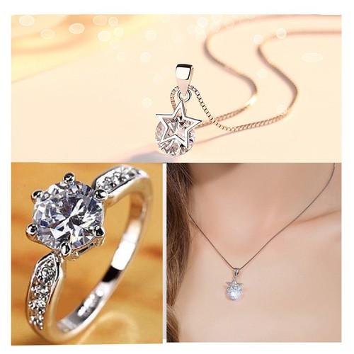 Bộ trang sức bạc dây chuyền và nhẫn Ngôi sao may mắn nạm đá zircon tinh tế TTB-BTS5916