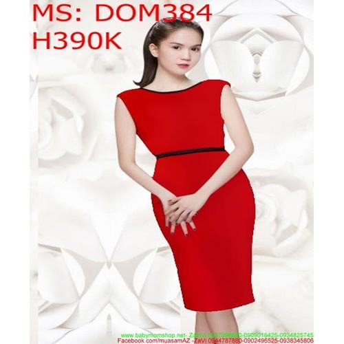 Đầm body công sở đỏ viền đen sang trọng DOM384