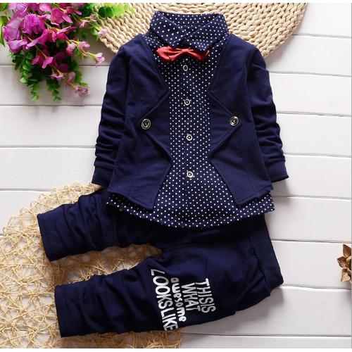 Bộ Suit Vest Bé Trai Kèm Quần Họa Tiết Chấm Bi T37