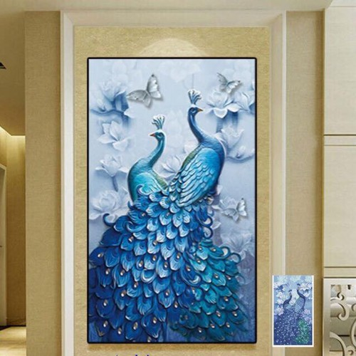 tranh đính đá chim công nghệ thuật độc đáo 1m-60cm