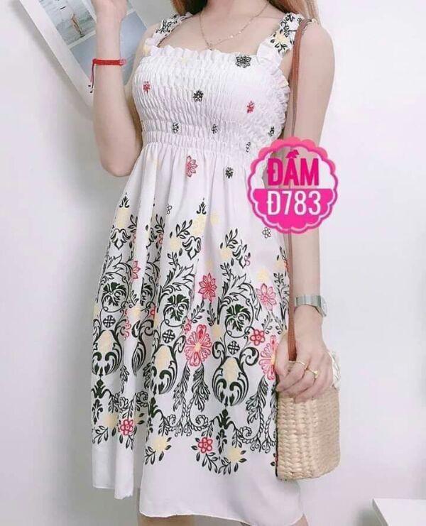 Đầm maxi ngắn xinh màu trắng hoa