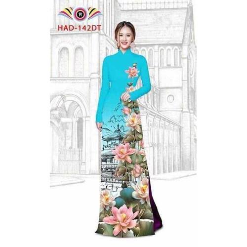 Áo dài in hoa 3d sắc nét đủ size kèm quần