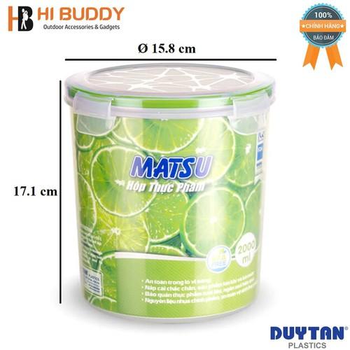 Hộp Nhựa Tròn Đựng Thực Phẩm Duy Tân Matsu 2000ml phi 15.8 x 17.1 cm No.460