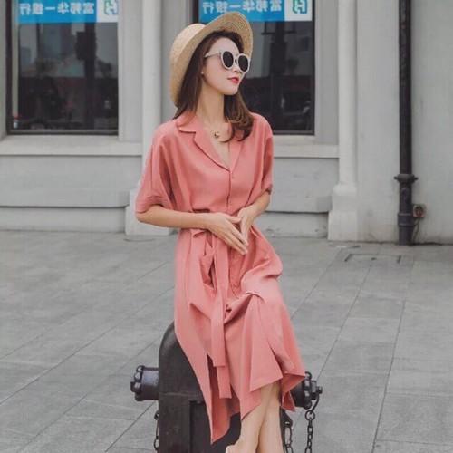 Đầm Suông Sơ Mi Hồng 2 Túi