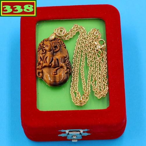Vòng cổ tuổi Mùi đá mắt hổ DIVMHCG4 kèm hộp nhung - Dây chuyền khắc linh vật 12 con Giáp