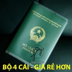 Combo 4 cái vỏ bao hộ chiếu passport nhựa dẻo có khe đựng vé máy bay và các loại thẻ dạng PET 4B132