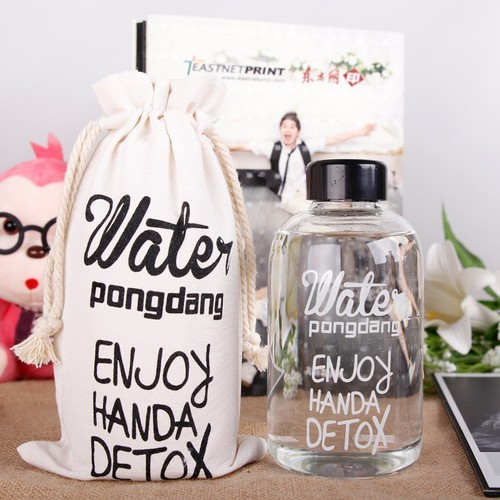 Bình nước detox water pongdang 600ml tặng túi vải đựng bình