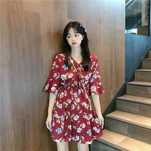 Đầm hoa nhún eo