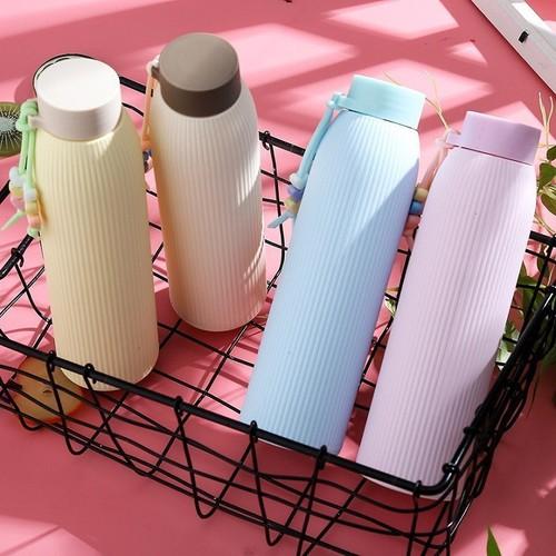 Bình Nước Thủy Tinh Giữ Nhiệt 420ml Bọc Nhựa Siêu Hot, Giá Sốc, Chất lượng Giao Màu Ngẫu Nhiên