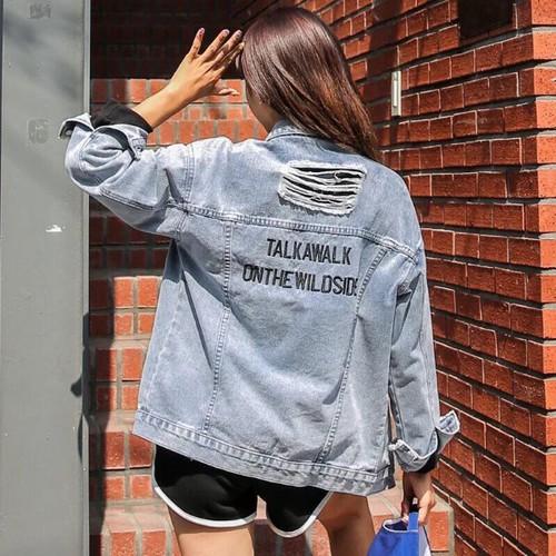 áo khoác jean chữ lưng