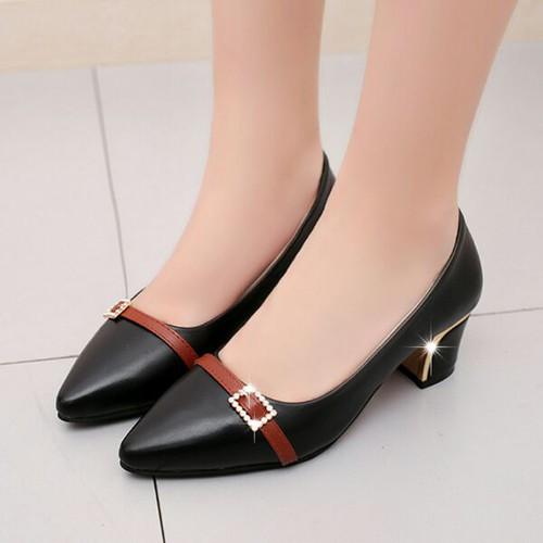 giày gót vuông phối màu