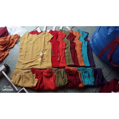 đồ bộ đũi thêu ống rộng có size