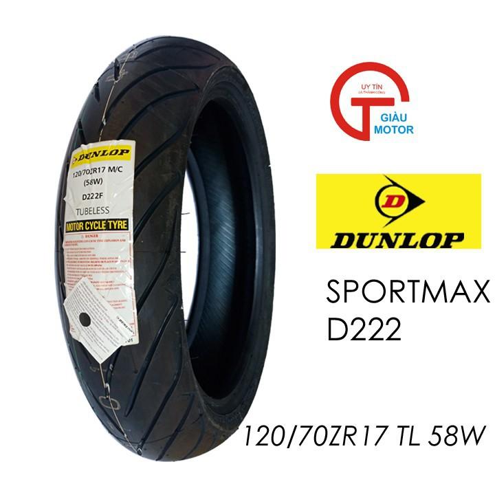Lốp Dunlop 120.70-ZR17 D222 TL 58W Vỏ xe máy Dunlop size 120.70-ZR17 D222 TL 58W_ Dunlop Việt Nam, giá rẻ, uy tín 1
