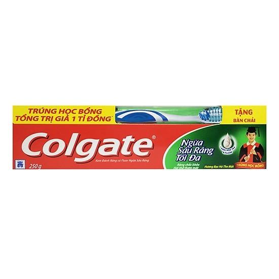 Kem Đánh Răng Colgate Ngừa Sâu Răng Tối Đa 250g + bàn chải cao cấp