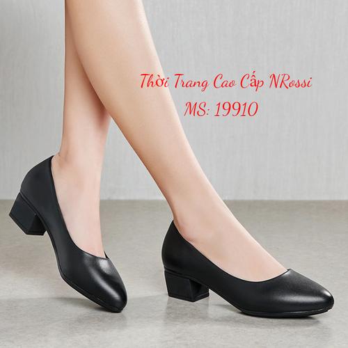 Giày cao gót nữ 3 phân cho người phụ nữ trung niên màu đen mờ size 33 đến 43 Nrossi