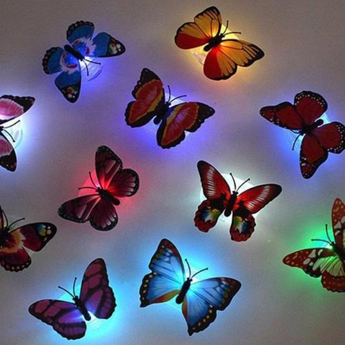 Bộ 8 đèn ngủ đèn led dán tường hình bướm phát sáng bằng pin cực hot