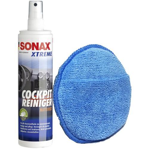Combo Làm Sạch bảo dưỡng nhựa Trong Xe Sonax Và Bọt Biển Bọc Microfiber