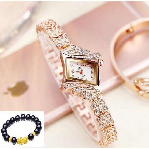 Đồng hồ nữ Jw bản lá đính đá Tặng vòng tỳ hưu may mắn xinh xắn
