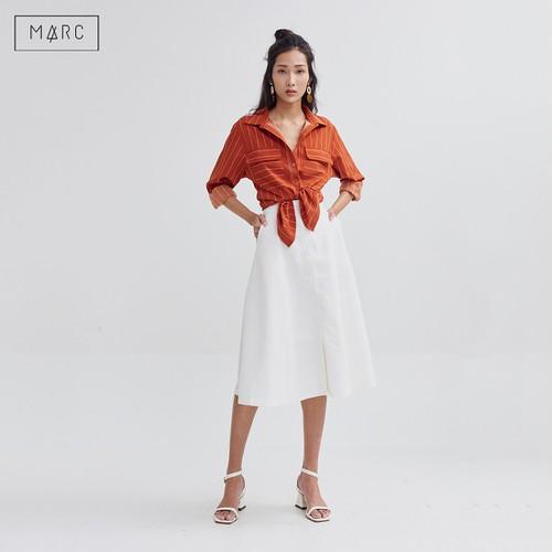 Áo sơmi sọc tay dài 2 túi basic màu Cam Marc Fashion