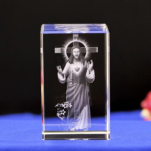 Tượng thủy tinh chạm khắc 3D Chúa Giê-su và cây Thập tự giá ý nghĩa sang trọng