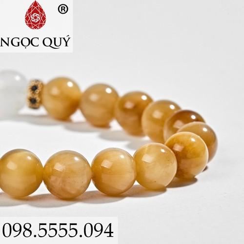 Vòng Tay Nữ Đá Mắt Hổ Vàng Tâm Phối Moon Stones 8mm - Ngọc Quý Gemstones