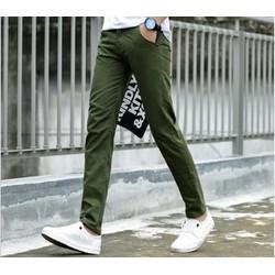 Quần kaki nam thời trang dáng Hàn Quốc màu xanh rêu