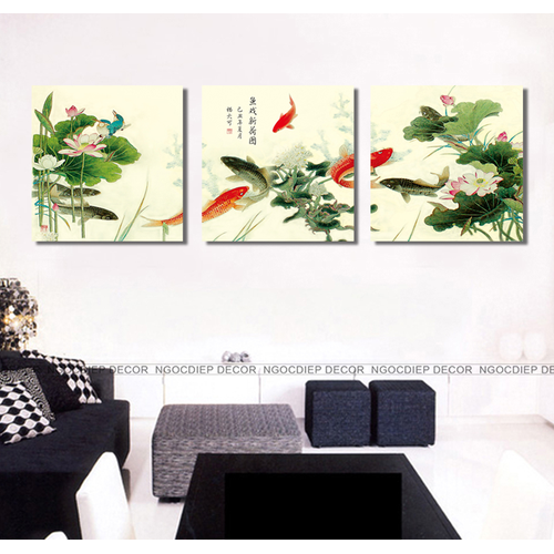 tranh treo tường - tranh ao sen cá chép