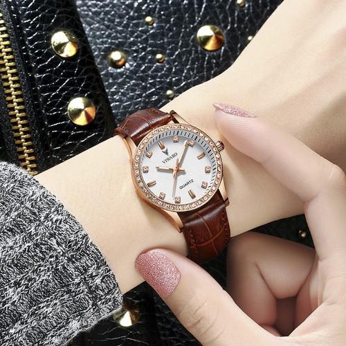 Đồng hồ nữ Viwaro VI3233 dây da cao cấp đính đá sang trọng