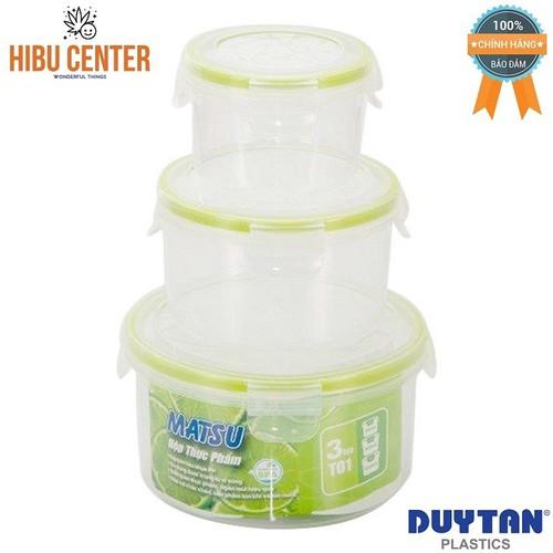Bộ 3 Hộp Nhựa Tròn Đựng Thực Phẩm Duy Tân Matsu T01 250ml-500ml-1000ml No.452 No.454 No.457