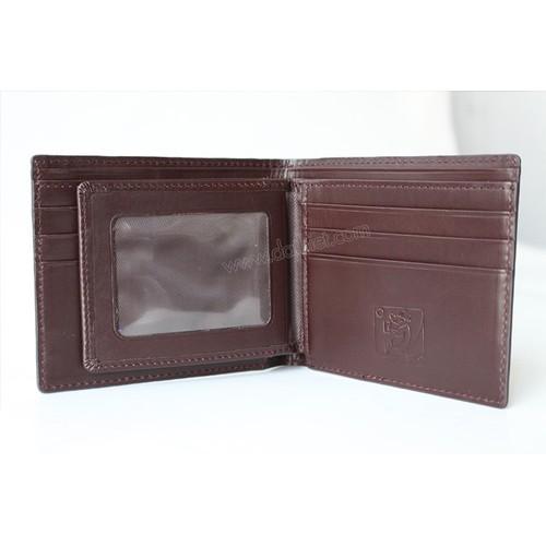Bóp ví nam hàng hiệu da bò cao cấp may đẹp bán giá rẻ B&C Leather C3 đen phối nâu đỏ