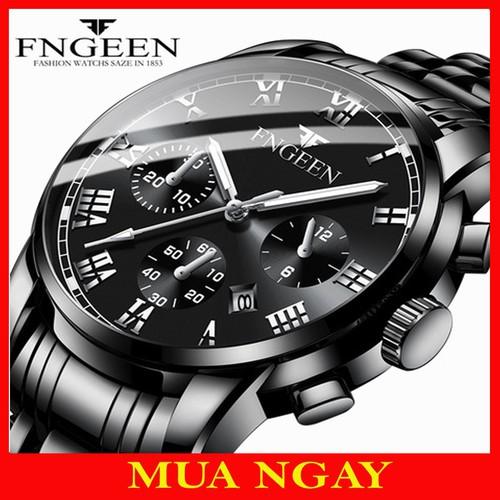 Đồng hồ nam fngeen dây thép không gỉ cao cấp dây đen f505