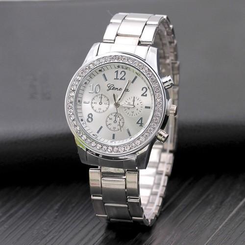 [HOT HOT] Đồng hồ Geneve đính kim cương dây xích kim loại TẶNG KÈM hộp đồng hồ