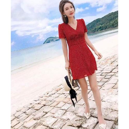 Đầm bi đỏ bo eo cổ V