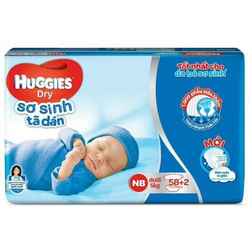 Tã dán sơ sinh Huggies NB58 thêm 2