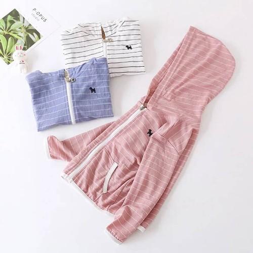 Áo khoác chống nắng cho bé gái bé trai chất cotton dày dặn kẻ ngang size 1 đến 5 tuổi