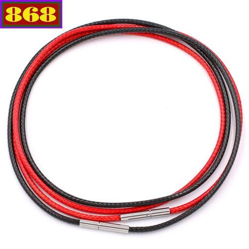 Combo 2 dây vòng cổ cao su đen - đỏ DCSEO1 móc inox - Dây dù bọc cao su